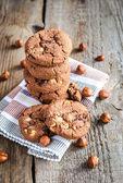 Dark chocolate and hazelnut cookies — Stock Photo