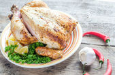 Grilled whole chicken — Stock Photo