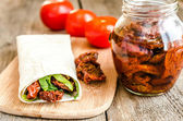 Tortilla with sun dried tomatoes — Stock Photo