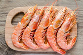 Shrimps on the wooden board — Stock Photo