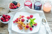 Belgian waffles with whipped cream and fresh berries — Stok fotoğraf