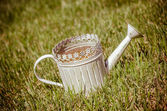 Old-fashioned watering can in the grass — Stock Photo