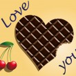 Chocolate heart with cherries and the words I love you — Stock Vector
