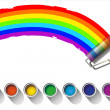 Painted rainbow colors on a white background - Stock Vector