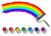 Painted rainbow colors on a white background — Stock Vector