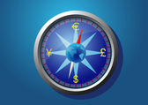 Currency of the world on the compass — Stock Vector