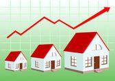 Wykres wzrostu cen nieruchomości — Wektor stockowy