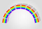 Rainbow consisting of children's blocks — Stock Vector