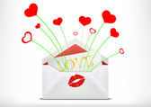 Postcard in an envelope with a kiss — Vector de stock