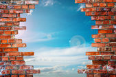Brick wall with hole — Stock Photo