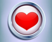 Button with a heart inside — Stock Photo