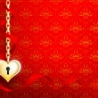 A heart of gold on a red background with a pattern — Stock Photo #38180999