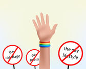 Hand with bracelet gay symbol — Stock Photo