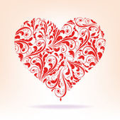 Muster der roten Herz auf weißem Hintergrund — Stockvektor