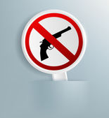 Sign indicating the prohibition of weapons — Stock Vector