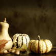 Pumpkins and autumn leaves — Foto Stock