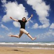 Man Jumping At The Beach Serie — Stock Photo