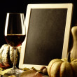 Pumpkins, red wine and autumn leaves — Stok fotoğraf