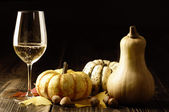 Pumpkins and autumn leaves with white wine — Photo