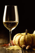Pumpkins and autumn leaves with white wine — Stockfoto