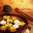 Aroma Bowl With Candles, Flowers, Stones And Joss Stick — Stock Photo #23726599