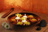 Aroma Bowl With Candles, Flowers, Stones And Joss Stick — Stock Photo