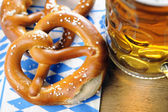 Pretzel on bavarian napkin — Stock Photo