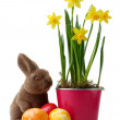 Yellow daffodils with easter bunny and easter eggs decoration — Stock Photo #23819399