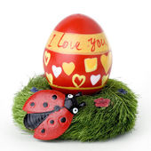 """Ester egg with ladybug and """"I love you"""" message — Stock Photo"""