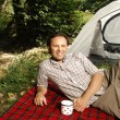Man resting - camping serie — Stock Photo