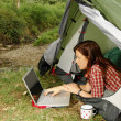 Woman with Laptop - camping serie — Stok fotoğraf