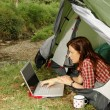 Womwith Laptop - camping serie — Stock Photo #23866365