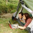 Foto Stock: Camping And Surfing