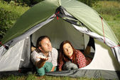 Couple in a tent, camping serie — Stock fotografie