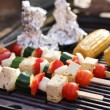 Food: VegetariBarbecue, vegetables and tofu kebabs — Stock Photo #25024719