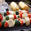 Stock Photo: Food: VegetariBarbecue, vegetables and tofu kebabs