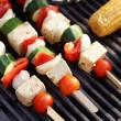 Food: Vegetarian Barbecue, vegetables and tofu kebabs — Stock Photo