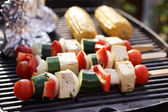 Food: Vegetarian Barbecue, vegetables and tofu kebabs — Zdjęcie stockowe