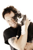 Man with his beloved cat — Stock Photo