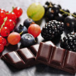 Fruits and chocolate — Stock Photo