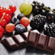 图库照片: Fruits and chocolate