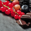 Stock Photo: Fruits and chocolate
