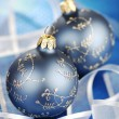 Blue Christmas Baubles And Ribbons — 图库照片
