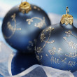 Blue Christmas Baubles And Ribbons — Zdjęcie stockowe