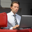 Business Man Working With Laptop In A Meeting Room — Stock fotografie