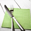 Silverware and napkin — Foto Stock