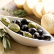 Foto Stock: Olives and bread