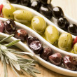 Three sorts of olives — Stock Photo