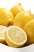 Bowl of fresh and juicy lemons — Stock Photo
