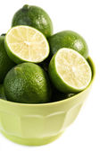 Bowl of fresh and juicy limes — Stock Photo